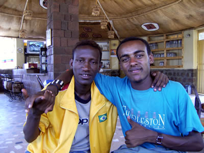 Dagnachew and Makonen in the Lal Hotel, Lalibela, March 2009